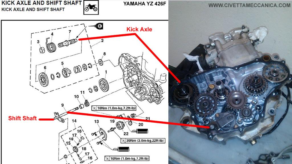 Manual YZ426F Shift Shaft Kick Axle 1